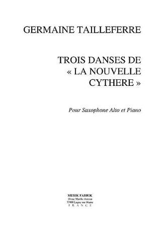 TROIS DANSES DE LA NOUVELLE CYTHERE