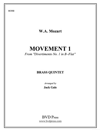 MOVEMENT 1 from Divertimento No.1 in Bb major (score & parts)
