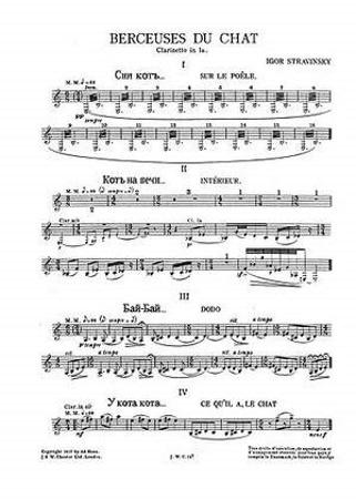 BERCEUSES DU CHAT clarinet parts
