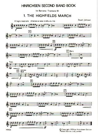 HINRICHSEN SECOND BAND BOOK 1st Baritone/Trombone (treble clef)
