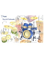 GREETINGS CARD Drums Design (7in x 5in)