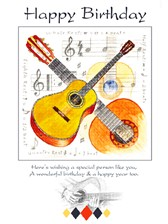 BIRTHDAY CARD Guitar Design (7in x 5in)