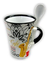 CAPPUCCINO MUG WITH SPOON Saxophone (White)