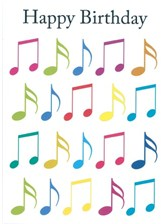 BIRTHDAY CARD Jazzy Music Notes (7in x 5in)