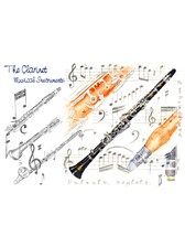 GREETINGS CARD Clarinet Design (7in x 5in)