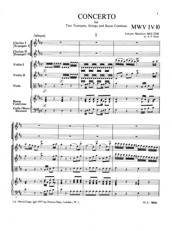 CONCERTO in D major, MWV IV/10 (score & parts)