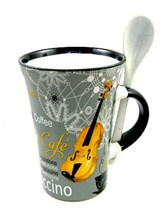 CAPPUCCINO MUG WITH SPOON Violin (Grey)