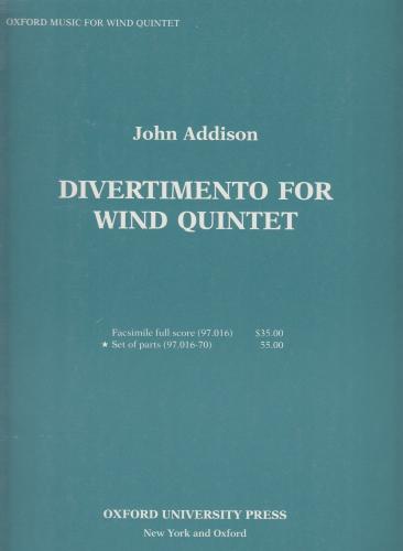 DIVERTIMENTO FOR WIND QUINTET (set of parts)
