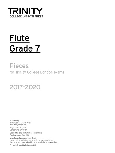 FLUTE PIECES 2017-2020 Grade 7 (part only)