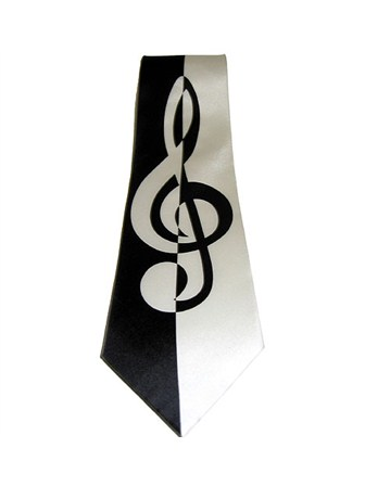 SILK TIE Contemporary Treble Clef Design