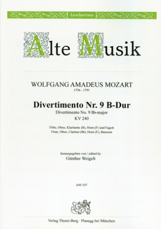 DIVERTIMENTO No.9 in Bb major, KV240 set of parts