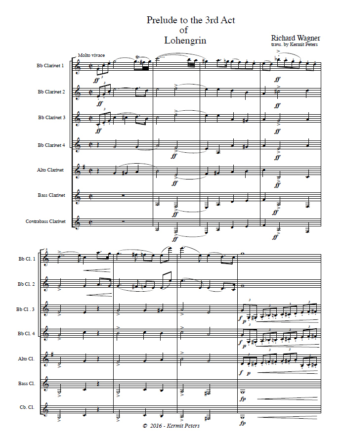 LOHENGRIN Prelude to Act 3 (score & parts)