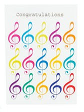 CONGRATULATIONS CARD Jazzy Treble Clef (7in x 5in)