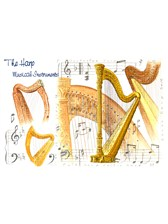 GREETINGS CARD Harp Design (7in x 5in)