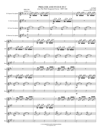 PRELUDE AND FUGUE in C from The Well-Tempered Klavier BWV 846