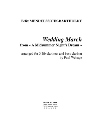 WEDDING MARCH (score & parts)