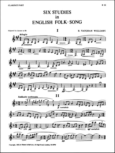 SIX STUDIES IN ENGLISH FOLKSONG Clarinet part