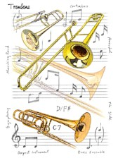 GREETINGS CARD Trombone Design (7in x 5in)