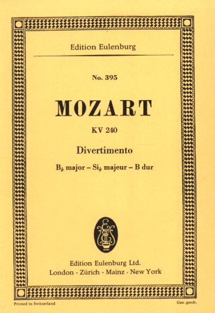 DIVERTIMENTO No.9 in Bb KV240 score
