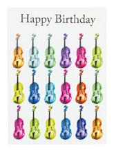 BIRTHDAY CARD -Jazzy Violin Design (7in x 5in)