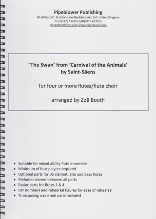 THE SWAN from 'The Carnival of the Animals' (score & parts)