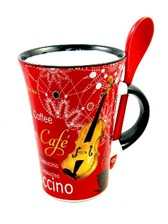 CAPPUCCINO MUG WITH SPOON Violin (Red)