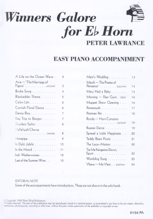 WINNERS GALORE Easy Piano Accompaniment (Eb edition)