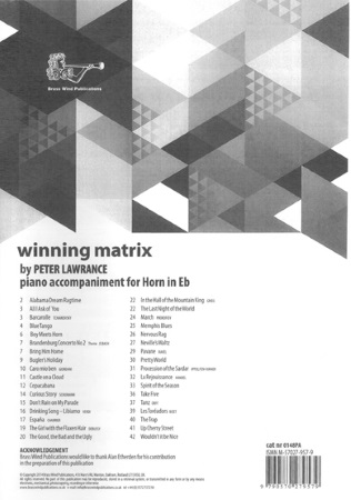 WINNING MATRIX Piano Accompaniment for Horn in Eb