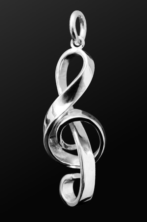 STERLING SILVER PENDANT Treble Clef (Big)