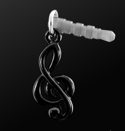 EARPHONE PLUG Treble Clef Black