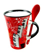 CAPPUCCINO MUG WITH SPOON Piano (Red)