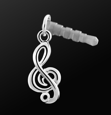 EARPHONE PLUG Treble Clef Silver