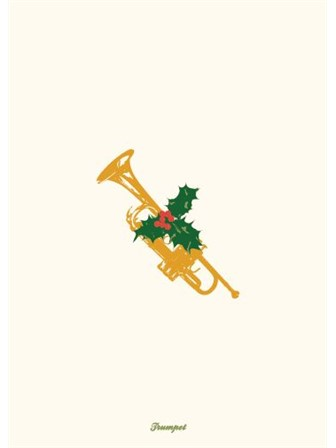 GREETINGS CARD Vintage Christmas Trumpet