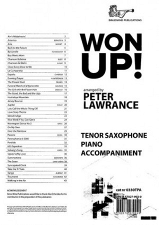 WON UP! Piano Accompaniment for Tenor Saxophone