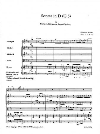 SONATA in D major G6 (score & parts)
