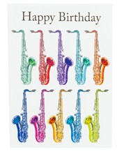 BIRTHDAY CARD -Jazzy Saxophone Design (7in x 5in)