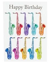 BIRTHDAY CARD -Jazzy Saxophone Design (7in x 5in)