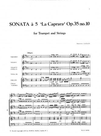 SONATA a 5 in C major Op.35 No.10, 'La Cappara' (score & parts)