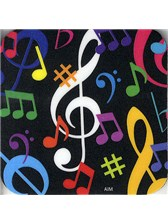 DRINKS COASTER Multi-Coloured Music Notes