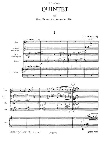 QUINTET Op.90 (score & parts)