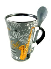 CAPPUCCINO MUG WITH SPOON Saxophone (Grey)