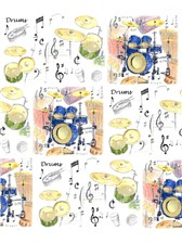 GIFT WRAP Drums Design (Single 70 X 50cm Sheet)