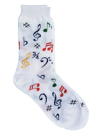 WOMEN'S SOCKS Multi Notes (White)