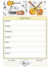 A4 WEEKLY PLANNER Guitar Design