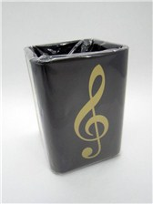 PEN HOLDER Gold Treble Clef (Square Plastic)