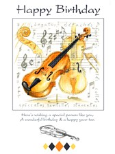 BIRTHDAY CARD Violin Design (7in x 5in)