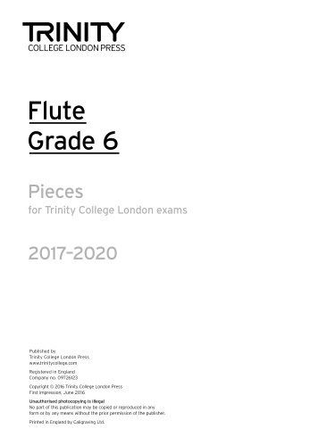 FLUTE PIECES 2017-2020 Grade 6 (part only)