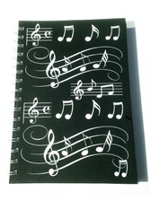 A5 HARDBACK SPIRAL BOUND NOTEBOOK Black with White Musical Notes