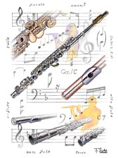 GREETINGS CARD Flute Design (7in x 5in)