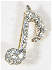 BROOCH Single Quaver (Clear Crystals/Silver Finish)